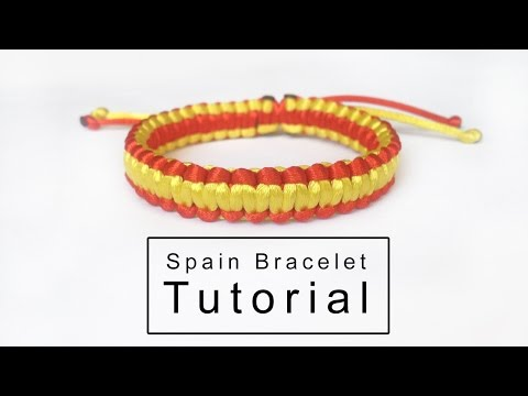 Spain Flag Design Knotted Bracelet | Tutorial