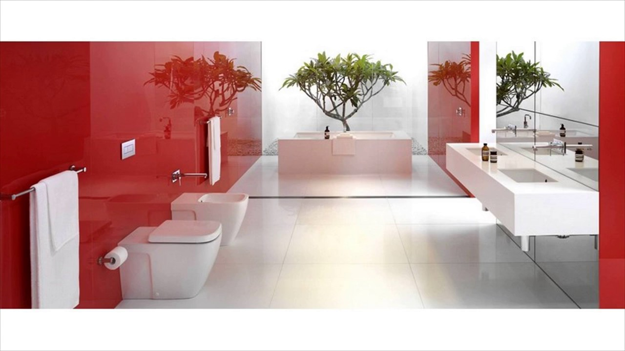 Red accent bathroom ideas youtube for Red accent bathroom