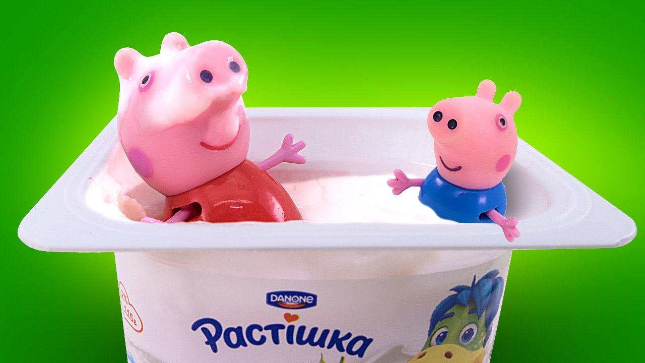 Свинка Пеппа День рождения с йогуртами Растишка и фиксиками Peppa Pig Мультик из игрушек