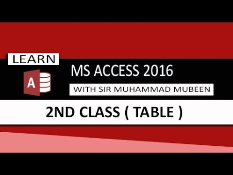 Ms Access 2016 Tutorials in Urdu/Hindi (Lesson 2 - Table  )