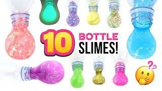 10 DIY BOTTLE SLIMES!! Tesтing Glow Slime, Water Slime & MORE! Satisfying Slime Experiments