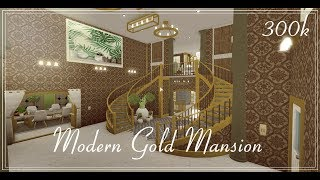 ROBLOX | BloxBurg | Modern Gold Mansion | Speed Build | 300k