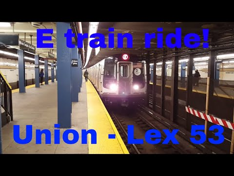 MTA NYC Subway: On board World Trade Center bound R160A (E) train from Union Tpke to Lex Av - 53 St