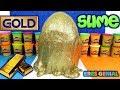Huevo Sorpresa Gigante de Slime gigante de Oro de Plastilina Play Doh en Español - con Eva y Lina