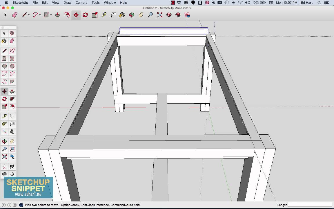 SketchUp Snippet Drawing A Farmhouse Table Part 2 Of 4 YouTube