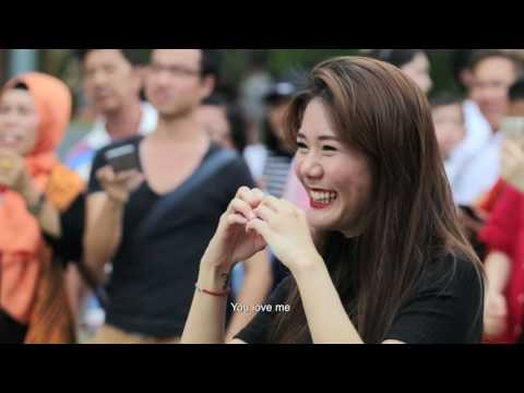 THE CAREBEAR PROPOSAL - Public Flash Mob Proposal Singapore @ Resorts World Sentosa - Andrew & Anna