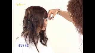經典對比長捲髮女孩,時尚對比髮型教學影片,韋恩智慧型組合剪刀-CTS Hairstyle 04(中文美髮教學)