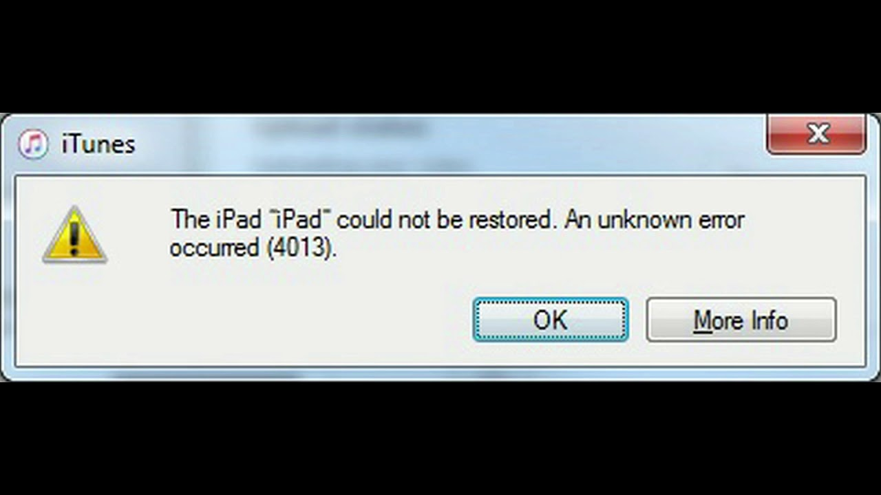 iPad Error 4013 iPad could not be restored  An unknown error occurred (4013)
