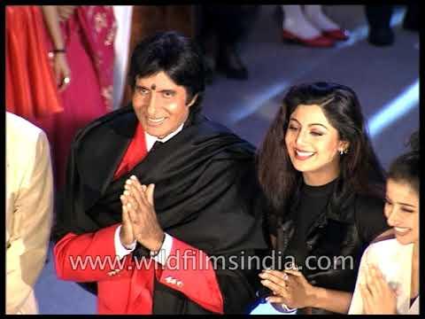 Amitabh Bachchan, Shilpa Shetty and Manisha Koirala on the sets of Lal Badshah
