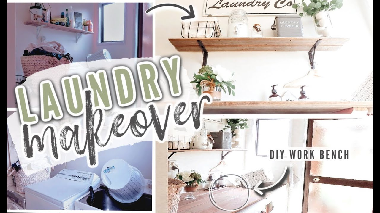 Laundry Room Makeover Diy Countertop Decorating Ideas Laundry Storage Ideas Youtube