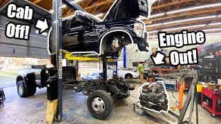 CUMMINS Swapping A 6.4 FORD! Cab Off and Engine Out! *Fummins Build Pt.4 *
