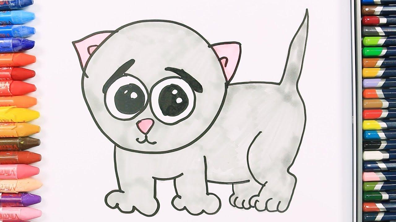 Cómo Dibujar y Colorear lindo bebé gato   Dibujos Para Niños - YouTube