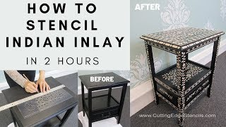 How To Stencil Bone Indian Inlay Furniture In 2 Hours!