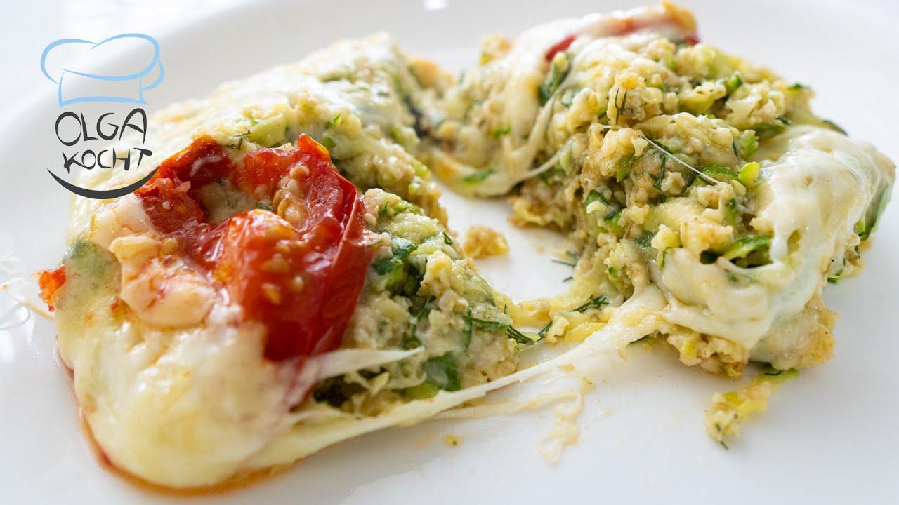 Zucchini Auflauf mit Haferflocken in der Auflauf Form | Zucchini Pizza