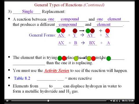 1st Year Chemistry Ch  8 Notes--Chemical Reactions (Part 3)