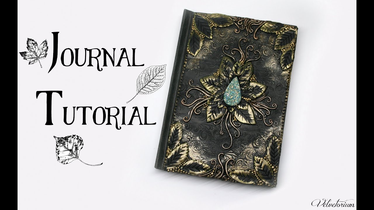 Photo Fantasy Book Cover Tutorial ~ Polymer clay journal cover tutorial leafy nature fantasy