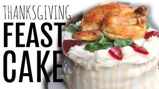Thanksgiving FEAST CAKE - mashed potatoes, stuffing, sweet potato, marshmallow, cranberry sauce