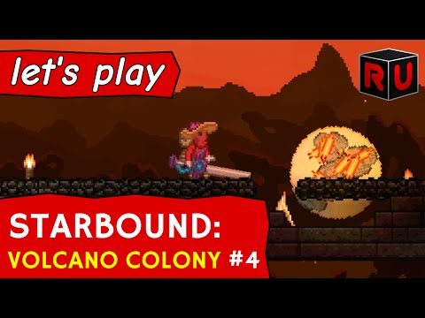 Attack of the Starbound meteor showers! | Let's play Starbound Volcano Colony ep 4