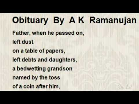 Obituary by A K Ramanujan explanation part 1| Saahil