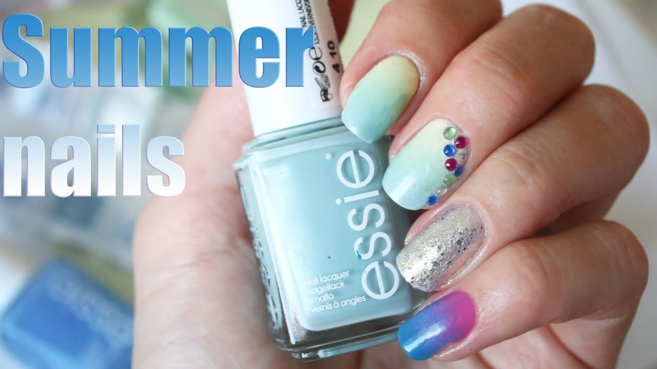 SUMMER NAIL DESIGN 2016: ombre & glitter - YouTube