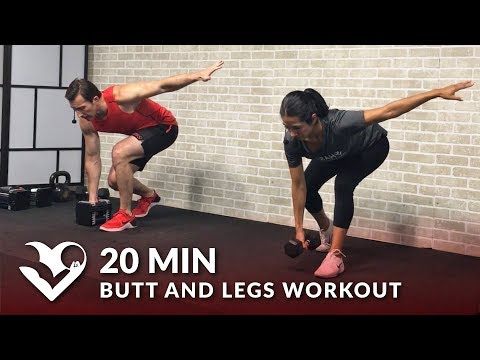 20 Min Butt and Legs Workout for Women & Men - Home Leg, Glutes, Butt and Thigh Workout w/ Dumbbells