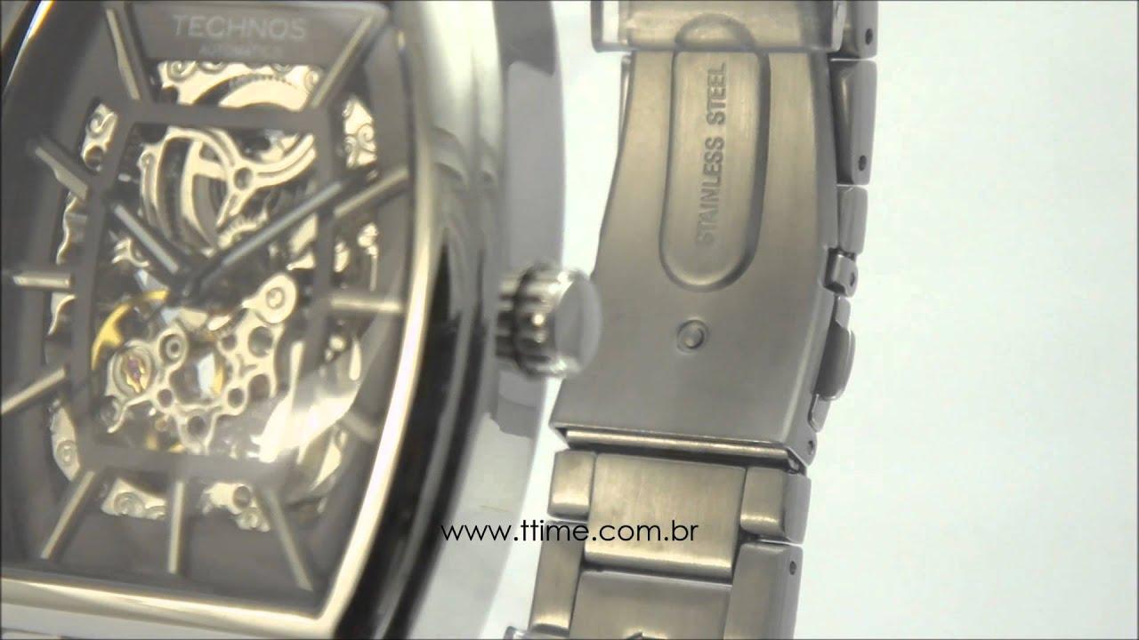 Relógio Technos Esqueleto Automático MW6807 1C - YouTube 5dc943b850