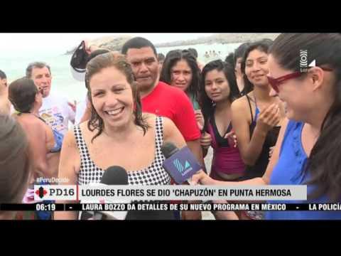 Lourdes Flores bailó y se bañó en la playa de Punta Hermosa