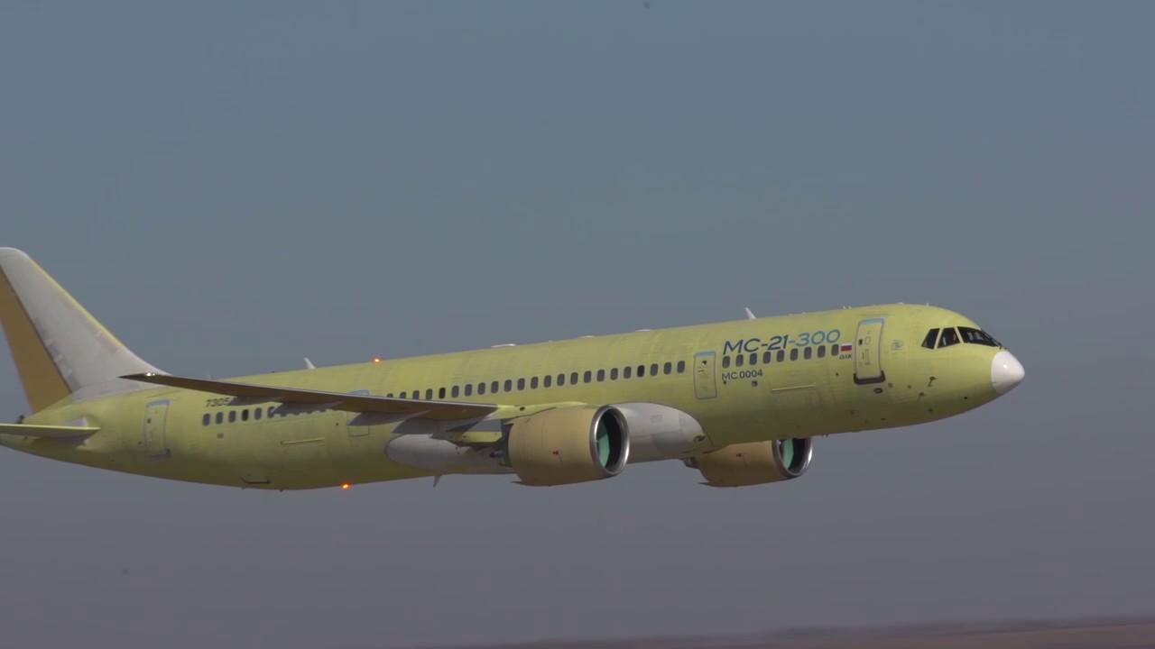 Первый полет третьего опытного самолета МС-21-300 - YouTube
