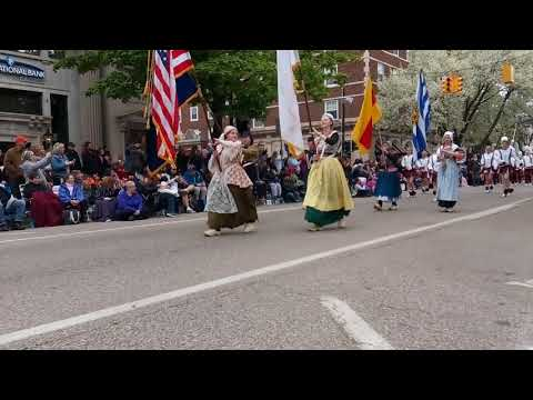 Holland Christian High school marching band at Tulip time parade. May-11-2019 Holland, Michigan