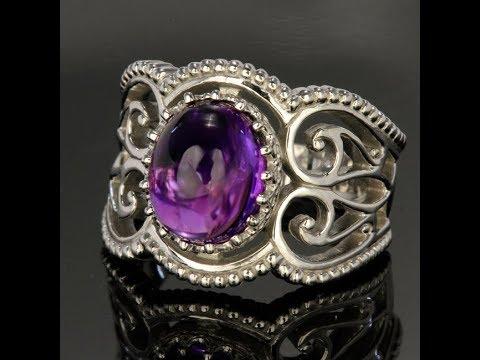 Antique Style Cabochon Amethyst 14 Karat Ring