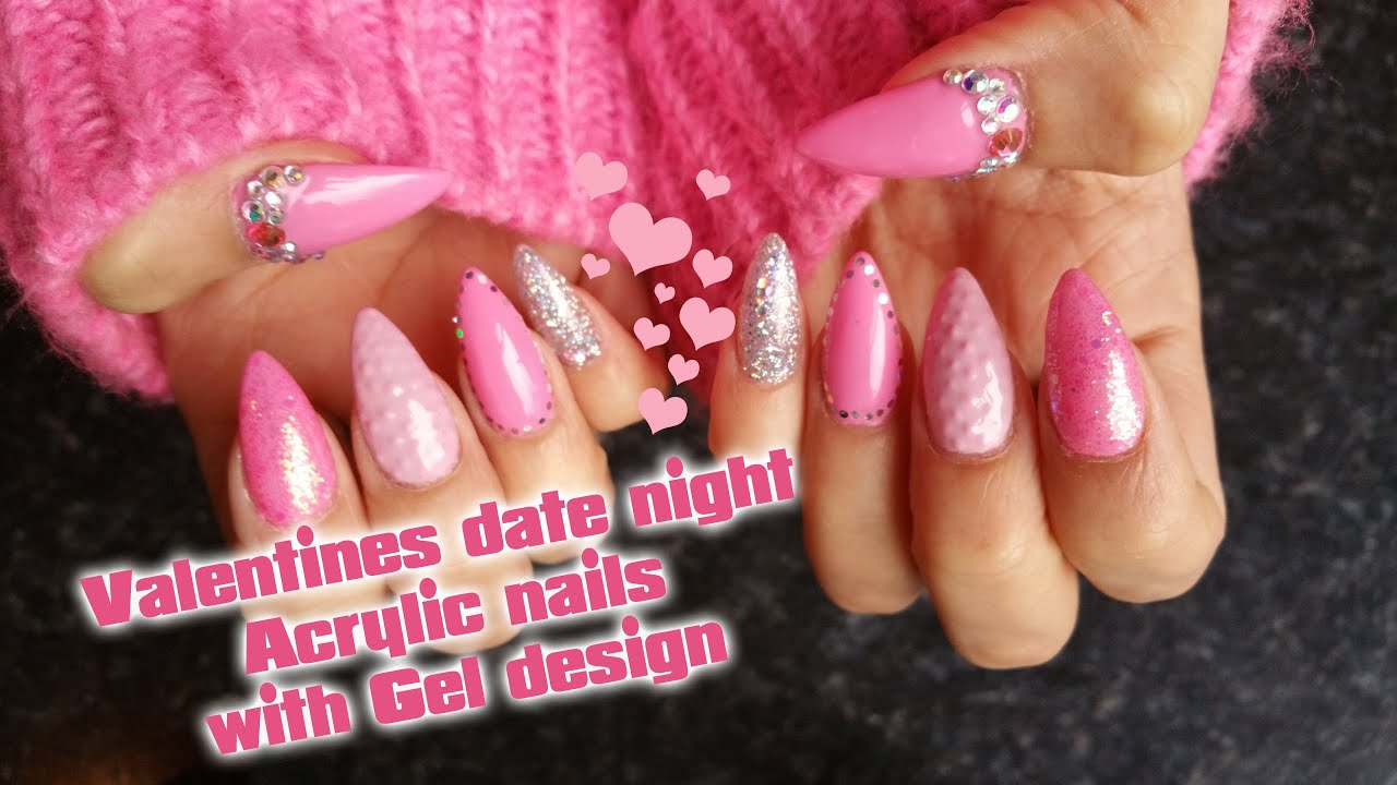 Acrylic Nails | Valentine\'s Date night | Gel polish Nail art - YouTube