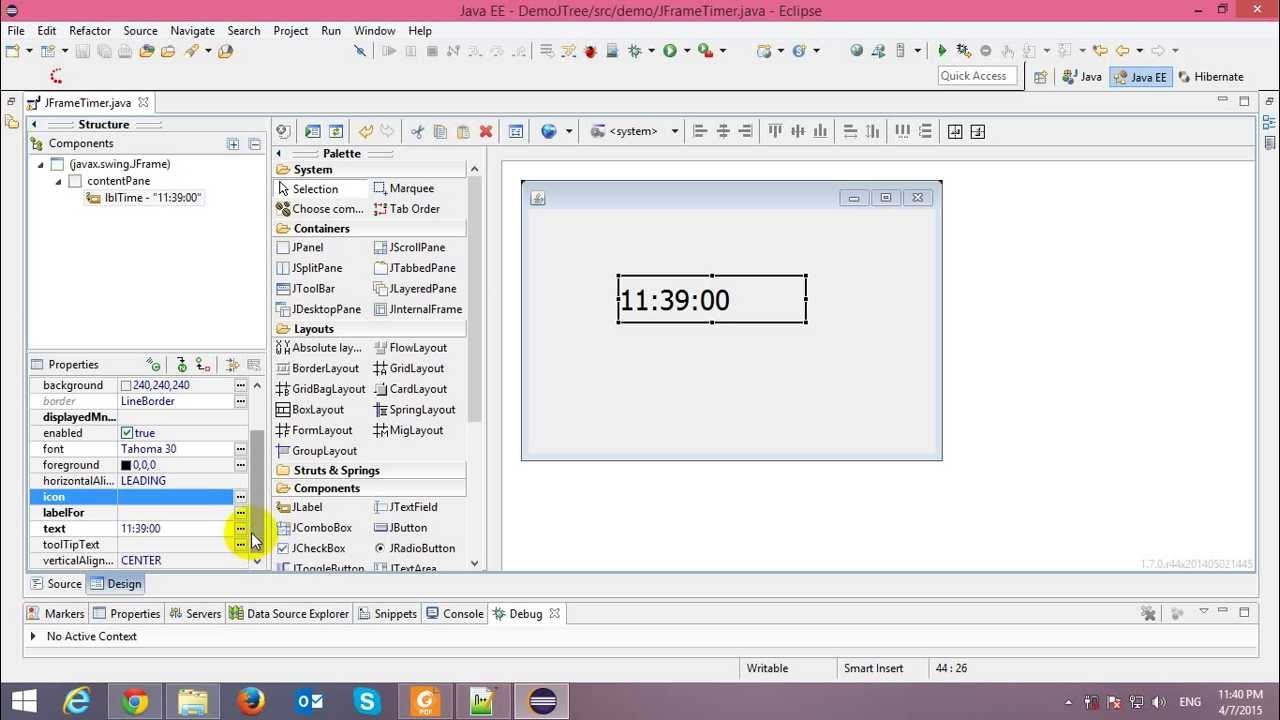Timer in java swing application youtube for Design table java swing