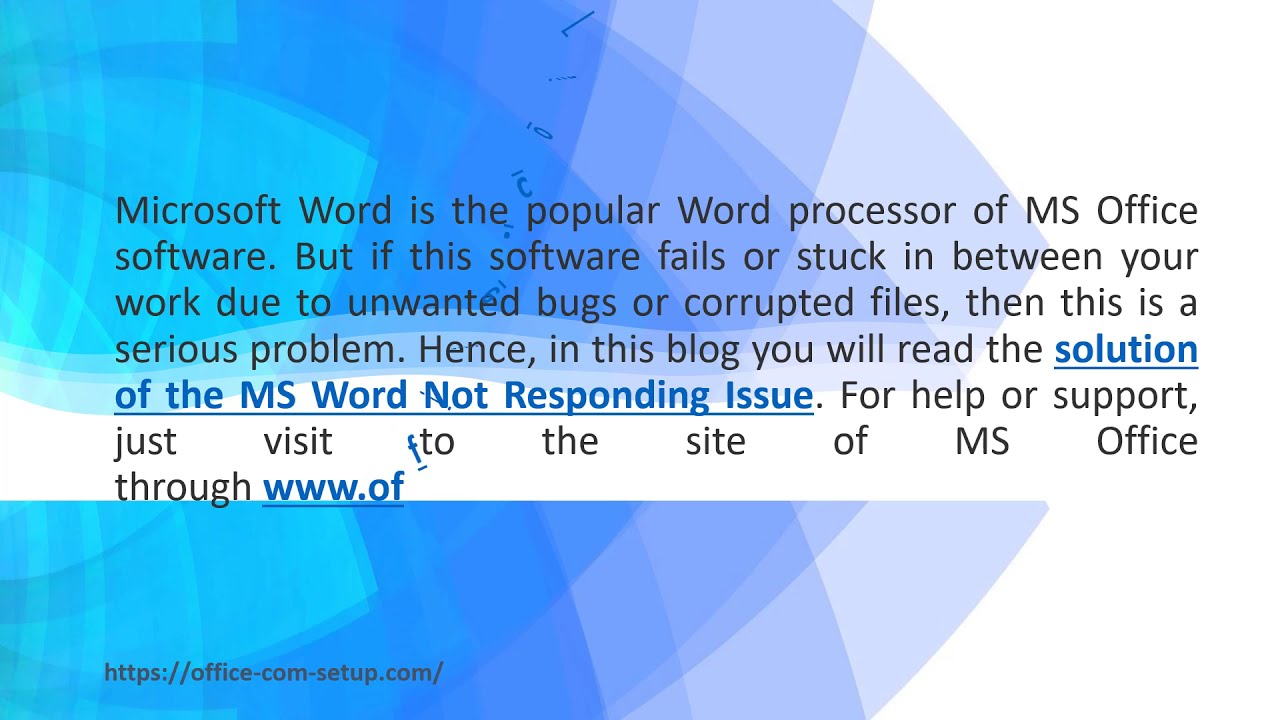 How to Troubleshoot MS Word Not Responding Issue? Office.com/setup