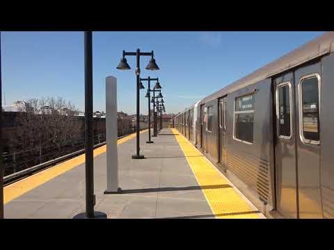 NYC Subway: Metropolitan Avenue-bound R42 (M) Entering & Leaving Seneca Avenue (Track 2)