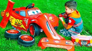 Artem and Lightning McQueen fun play in the Yard with toys