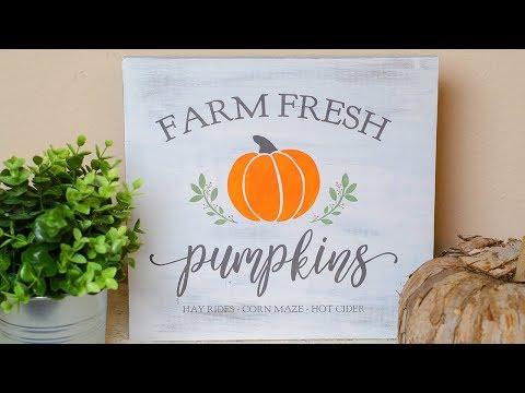 DIY Farmhouse Fall Pumpkin Sign | Simply Dovie