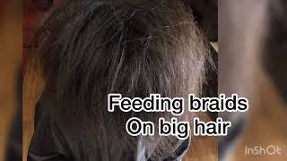 Feeding braids on big hair