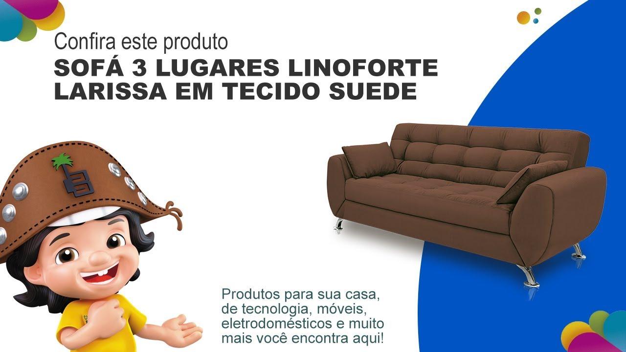 Sofá 3 Lugares Linoforte Larissa em Tecido Suede   Casas ...