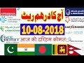 Today UAE Dirham (AED) Rates 09-08-2018 - Hindi/Urdu | INDIA | Pakistan | Bangladesh | Nepal