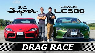 2021 Lexus LC500 vs Toyota Supra // DRAG & ROLL RACE