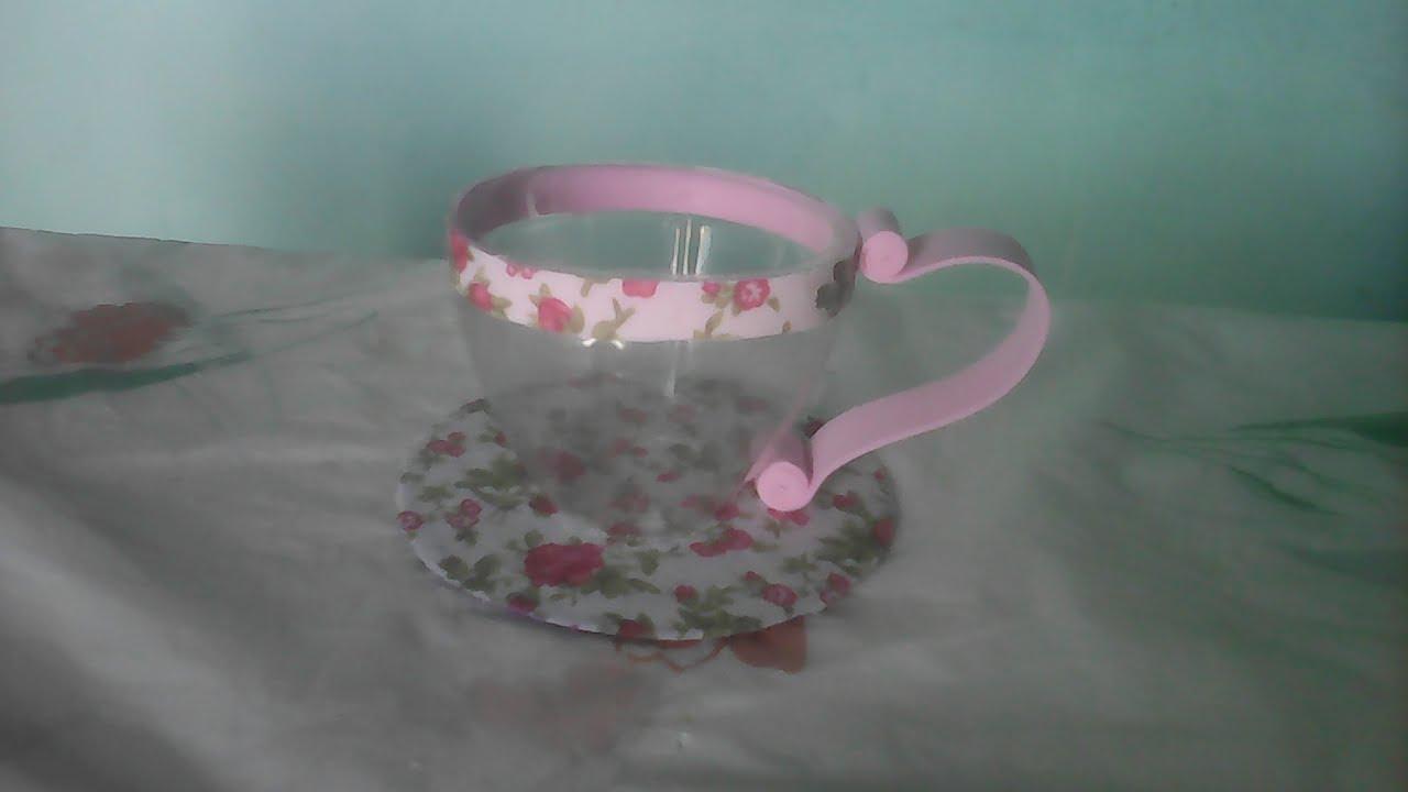 Xícara de garrafa pet Use como lembrancinha,decoraç u00e3o Reciclagem de garrafa pet #artesanato