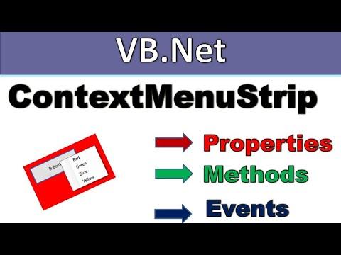 Contextmenu Strip In Vb.net properties,methods And Events In Hindi