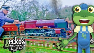 Gecko And The MINI TRAIN Gecko's Real Vehicles | Real trains For Kids | Learning For Kids