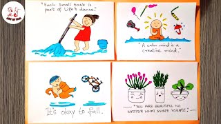How to Doodle Small Inspirational Quotes |Easy Drawing for Kids.