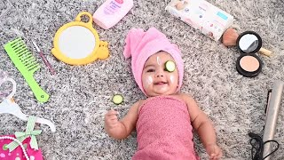 Baby Photoshoot: Baby doing Makeup DIY Baby Photoshoot at Home || Behind the scene baby photography