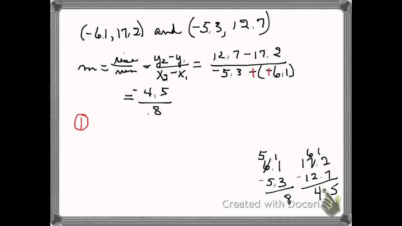 Find Slope When The Given Points Have Decimal Coordinates