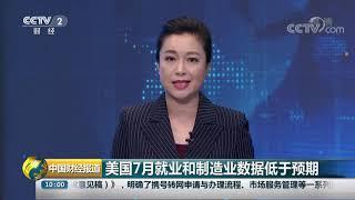 [中国财经报道]美国7月就业和制造业数据低于预期| CCTV财经