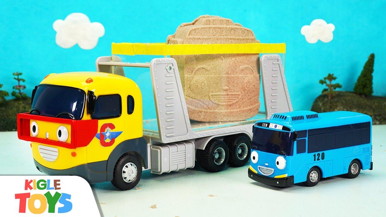 쌍둥이 모래성 | 장난감 버스 차고지 키네틱샌드 무지개 색깔 | 타요 캐리어카 놀이 | 키글 토이 - KIGLE TOYS