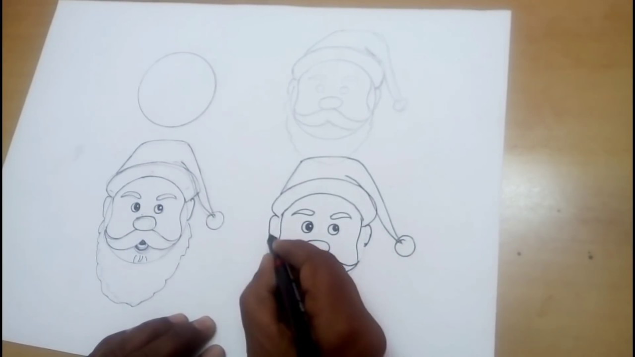 Line Drawing Santa Face : Santa claus drawing for christmas step by easy turorial