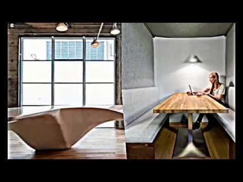 Eklektische Büro Einrichtung -- Beton und Holz prägen das Interieur ...